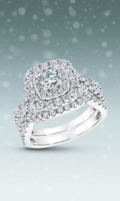 Round Diamond Double Cushion Halo Bridal Set 2ctw via REEDS / http://www.himisspuff.com/engagement-rings-wedding-rings/37/
