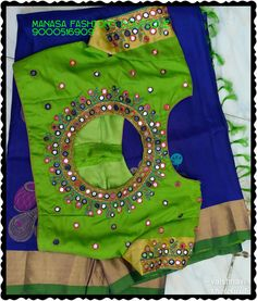 Latest mirror work blouse design - The handmade craft Mirror Work Saree Blouse, Mirror Work Blouse Design, Kids Blouse Designs, Simple Blouse Designs, Peacock Blouse Designs, Maggam Work Designs, Designer Blouse Patterns, Kutch Work, Saree Models