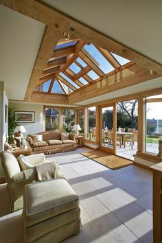 Bring the outdoors inside. Garden room with ceramic tile flooring Express Flooring Phoenix, Arizona click the image or link for more info. Garden Room Extensions, House Extensions, Kitchen Extensions, Orangerie Extension, Orangery Extension Kitchen, Cottage Extension, Oak Framed Extensions, Oak Frame House, Roof Lantern