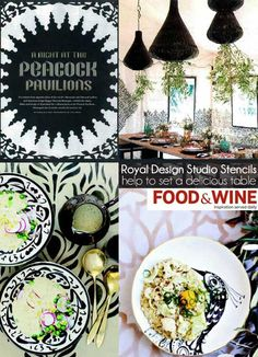Our Moroccan stencils at Peacock Pavilions in Marrakesh featured in Food & Wine. Royal Design Studio