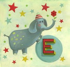 E is for Elephant  www.w-illo.com  Available in my Etsy shop: www.etsy.com/listing/88793998