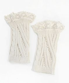 Another great find on #zulily! Ivory Cable-Knit Lace-Accent Boot Cuffs #zulilyfinds