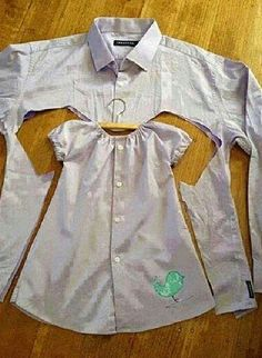 Little girls dress out of daddy's shirt!
