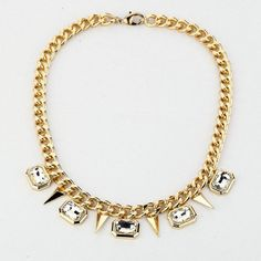 Women Punk Style Metal Rivets Crystal Rhinestone Golden Chain Necklace  #jewelry #kids #occasions #charming #gold #bids #silver #jewelries #pretty #outfits