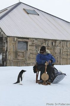 Spinning in Antarctica on a Majacraft Little Gem spinning wheel. Also entertaining the penguins. :-)