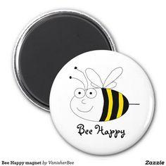 Ímã feliz da abelha ímã redondo 5.08cm
