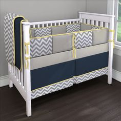 Yellow, Navy and Gray oh my!!! by Brittany Custom Crib Bedding Contest Entry | Carousel Designs Contest