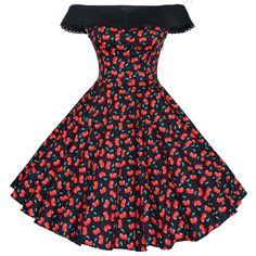 ((in white)) Maggie Tang 50s 60s Vintage Cherry Print Swing Rockabilly Dress Black Cherry S