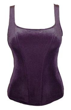 EX M s Purple Velvet Stretch Fitted Top Vest No Bones RRP £18 Sizes 8 18 | eBay