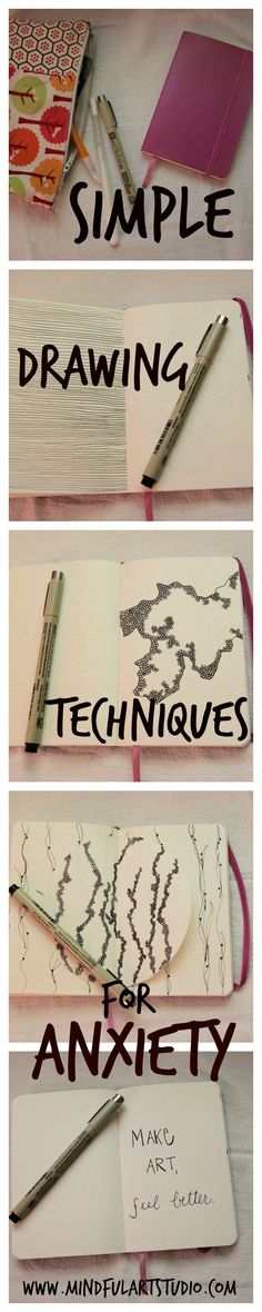 Try these three simple drawing techniques for anxiety the next time you feel unfocused or uninspired. Simple techniques with easy instructions and pics.