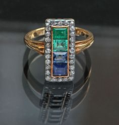 Belle Epoque Gold, Silver, Emerald, Sapphire And Diamond Ring - European c.1905