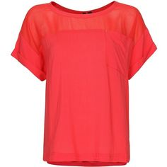 MANGO Sheer panel blouse ($30) ❤ liked on Polyvore