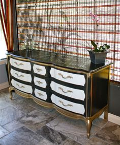 """French Provincial dresser.  black and metallic gold dip """"Frenchie"""" I just finished in my custom chalk-paint."""