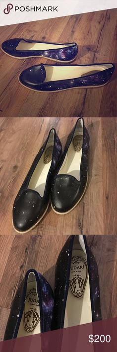 Judari galaxy flats hipster RARE Italian Judari Italian leather flats in galaxy print. These shoes are sold out everywhere and hard to find. Retail for $290 new. Shoes are in excellent condition. Judari Shoes Flats & Loafers