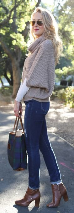 distressed skinny jeans, chunky knit cowl neck poncho, blackwatch plaid tote + studded cognac brown booties     http://www.theclassycubicle.com/2014/11/casual-friday-distressed-denim.html