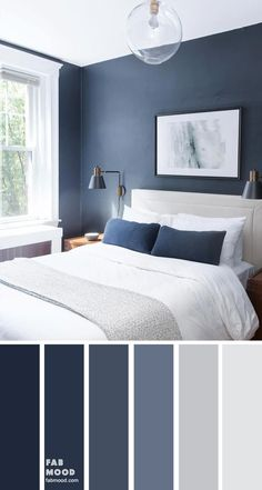 Bedroom color scheme ideas will help you to add harmonious shades to your home which give variety and feelings of calm. From beautiful wall colors. color schemes grey Dark blue and light grey bedroom color scheme Bedroom Colour Schemes Blue, Grey Bedroom Colors, Light Gray Bedroom, Blue Master Bedroom, Navy Bedroom Walls, Navy Bedrooms, Grey Living Room Ideas Color Schemes, Dark Blue Bedrooms, Grey Bedroom Design