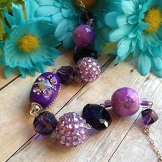 Purple Necklace Glass Beaded Necklace by SundanceMountains on Etsy