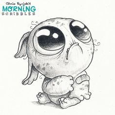 I'm headed to the hospital today to have more tests done so they can diagnose what's causing the pain in my shoulder. So, this little guy is me today. Wish us both luck! #morningscribbles
