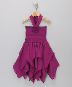Take a look at this Purple Rosette Handkerchief Dress - Toddler & Girls by Lele for Kids on #zulily today!