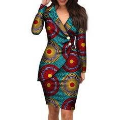 african dress styles 2019 Autumn African Dresses For Women Fashion Office Style V Neck Long Sleeve Midi Dress Bazin Riche African Print Clothing From Oc Best African Dresses, African Traditional Dresses, Latest African Fashion Dresses, African Print Dresses, African Attire, Ankara Fashion, African Dress Designs, Ankara Dress Styles, African Women Fashion