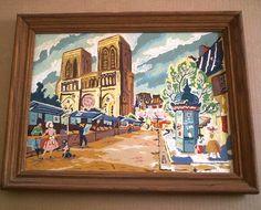 Vintage 50's Paint by Number NOTRE DAME Paris Poodle oil painting PBN Art Frame