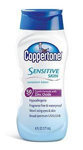 """2"" rating.  Coppertone Sensitive Skin Sunscreen Lotion, SPF 50 | EWG's Skin Deep® | 2012 Sunscreen Report"