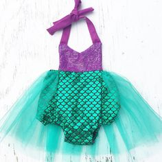 LIMITED Mermaid Tutu Sparkle Romper READY TO SHIP