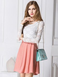 Pink Sweet Long-Sleeved Stitching Lace Dress