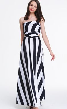 V Neck Striped Loose Maxi Dress