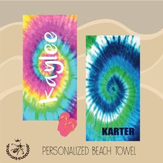 Personalized Beach Towel, Tie Dye Towel, Monogram Towel, Camp Towel,  Swim Towel, Pool Towel, Birthday Gift, Back to School, Nap Mat by TheBeeBoutiqueNC on Etsy