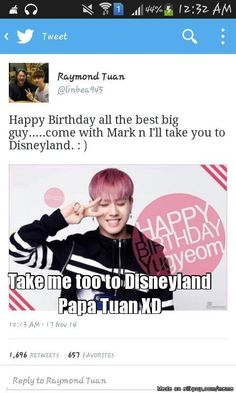 Papa Tuan inviting GOT7 Yugyeom to go to Disneyland with Mark for his bday. Too cute!