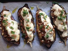 Roasted aubergine with spiced lamb