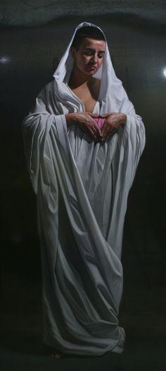 Artista: Manuel Rivero, Ado-Nay. Título: Resistencia. Óleo sobre lienzo metálico. 140x65 cm. 2018