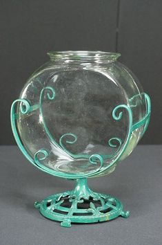 Wrought & Cast Iron Antique Fish Bowl Stand With 2 Gallon Clear Glass Bowl