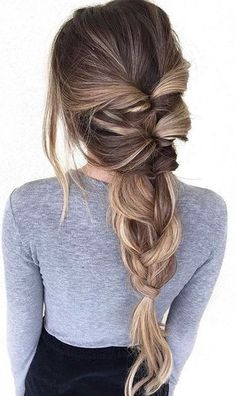 Twisted Pull Through Braid Ponytail - Everyday Hairstyles for Women Long Hair - Beauty Pretty Hairstyles, Braided Hairstyles, Hairstyle Ideas, Modern Hairstyles, Spring Hairstyles, Hairstyles 2018, Braided Locs, Quiff Hairstyles, Hair Colors