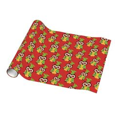 Fall Owl Pattern glossy wrapping paper
