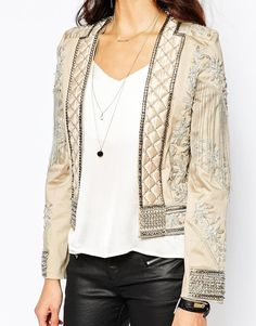 $287 ASOS A Star Is Born Allover Luxe Embellished Trophy Jacket