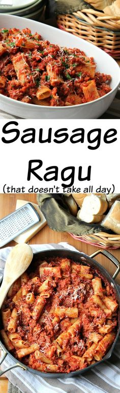 Sausage Ragu Rigatoni  - A thick and hearty ragu dish that comes together in under an hour.  This is comfort food at its finest.  Flavorful enough to serve at your holiday table but easy enough for a weeknight meal.  #ad @pastadececco