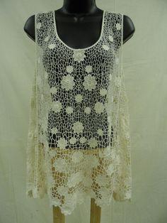 Plus Size 2X CROCHETED LACE Top Shirt Sexy Trendy 100% COTTON Shell Boho NWT #BongoPlus #KnitTop
