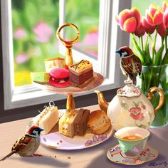Sketch 82: Sparrow Tea A silly animation inspired by last weekend when I went to have high tea at the QVB Palace Tea Room with the girls. Mmm, so much food. So much CAKE!