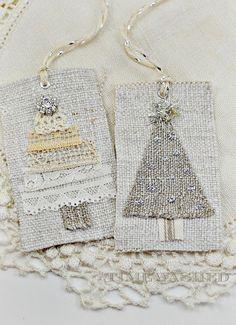 Christmas Gift Tags Vintage Linen