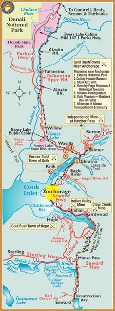 Regional quick reference map ... from Seward through the Anchorage area and on up to Denali National Park (shows the train tracks), if you can spend some time in Anchorage and beyond (Denali, Girdwood, Seward, and Homer)