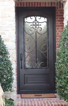 ID Single Iron Door with Kickplate Iron Front Door, Double Front Doors, Front Door Entrance, Front Door Colors, Glass Front Door, Iron Doors, Sliding Glass Door, Entry Doors, Metal Doors