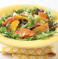 Salmon and Nectarine Salad with Honey-Lemon Dressing is a great way to use leftover grilled salmon. If it's seasoned, even better! The dressing is versatile enough to play off any new flavors you bring to the recipe.