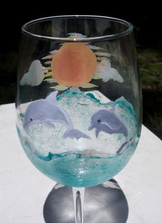 Hand painted dolphin wine glass beaches sunshine summertime