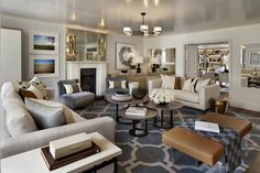Helen Green Living Room--geometric rug, low lacquered ceiling, antique mirror, leather ottoman