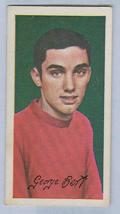"""Sports Card Forum - Top 50 Football Cards (Mostly Vintage) : #18. 1964 Barratt George Best. Long before David Beckham was celebrated by Man U fans, another player enjoyed rock star status at Old Trafford. At his peak, George Best was as talented as any player on this list. Sadly, alcoholism dulled his football skills and eventually took his life. The Irish still remember his as the greatest ever with the phrase: """"Maradona good; Pelé better; George Best."""" This is Best's rookie card and was…"""