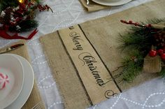Christmas Table Runner Burlap Merry Christmas by FairStreetCrafts, $12.00