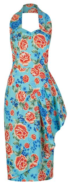 Lindy Bop 'Ola' Vintage 1950's Hawaiian Floral Sarong Style Wiggle Dress ** Awesome product. Click the image : Evening dresses