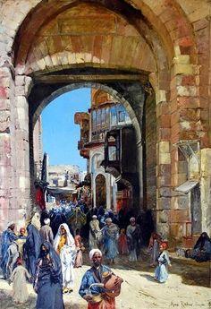 "City Gate "" Bab Zuweila "" , Cairo - 1903 By Max Friedrich Rabes - Old Egypt, Cairo Egypt, Empire Ottoman, Arabian Art, Islamic Paintings, Historical Art, Arabian Nights, Egyptian Art, Old Art"